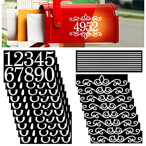 10 Sheets White Reflective Mailbox Numbers Stickers Vinyl Self Adhesive House Numbers 0 to 9 Decals with 8 Sheets Waterproof Flowers Number Address Sign for Door Mailbox Billboard Car (2 Inch)