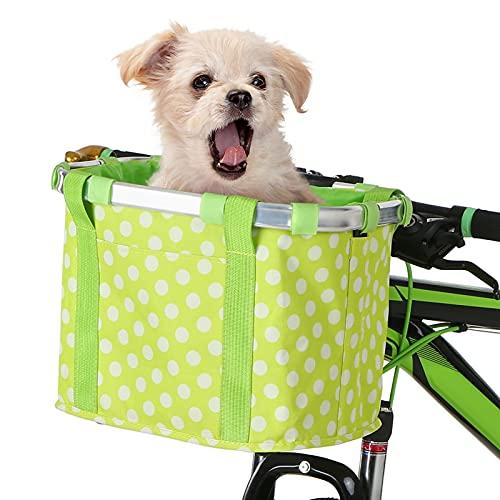 WAFFZ Cesta delantera desmontable para manillar de bicicleta, plegable, para mascotas, gato, perro, bolsa de transporte de ciclismo (color: C)