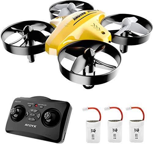 ATOYX Drone Enfant d'intérieur Hélicoptère Télécommandé Quadcopter Mini Drones pour Enfants avec Mode sans Tête Avion Mini avec Télécommande Jouet Cadeau pour Enfant et Débutant AT-66C (Jaune)