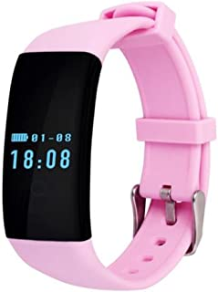 GH DFit D21 Smartband Heart Rate Monitor Waterproof Swim Smart Band Bracelet Health Fitness Tracker for Android and iOS (Pink)