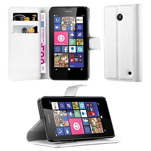 Cadorabo Hülle für Nokia Lumia 630/635 in ARKTIS WEIß - Handyhülle mit Magnetverschluss, Standfunktion & Kartenfach - Hülle Cover Schutzhülle Etui Tasche Book Klapp Style
