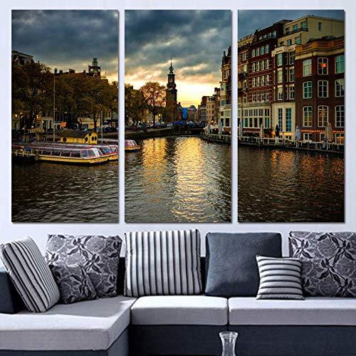 HTRHUA 3 platen canvas kunst Amsterdam House Canal Wooncultuur muurkunst schilderij Canvas foto's voor de woonkamer Poster 40 * 80cm*3pcs Met frame.