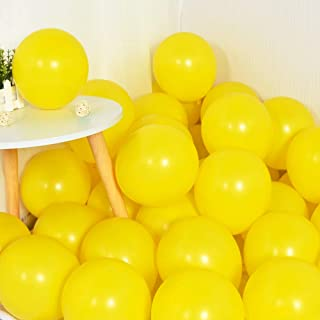 100Pcs Yellow Party Balloons 10 Inch Yellow Balloons Pastel Yellow Latex Round Ballons for Party Birthday Wedding Graduati...