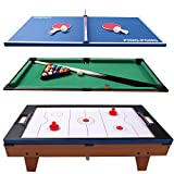 GYMAX Multi Game Table, 3-in-1 Versatile Game Table for Pool Billiard,...