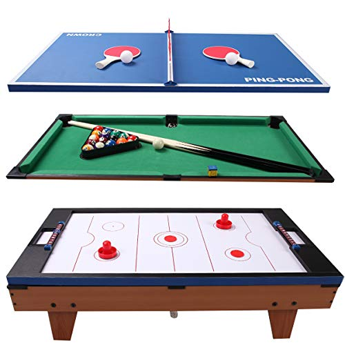 GYMAX Multi Game Table, 3-in-1 Versatile Game Table for Pool Billiard, Table Tennis & Air Hockey, Complete with All Needed Game Table,...