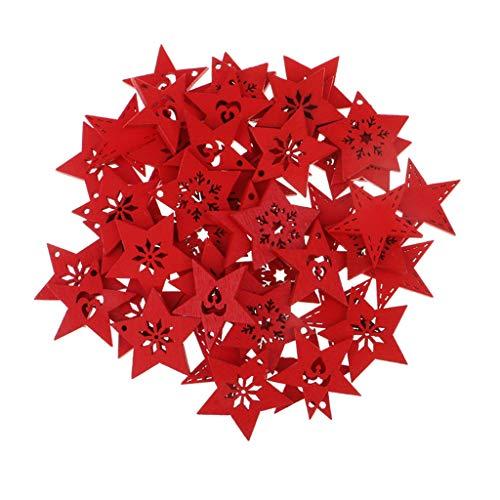 FLAMEER 50 Stück Holz Sternformen Schneeflocke Holzscheiben Tischdekoration Holz Deko Basteln Weihnachtsdeko - rot, 30 mm