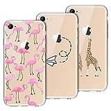 Yokata [3 Packs] für iPhone 7 / iPhone 8 Hülle Transparent Silikon Handytasche Handyhülle Schutzhülle TPU Ultra Dünn Slim Durchsichtig Motiv Muster Cases Covers - Hirsch + Flamingo + Papierflieger
