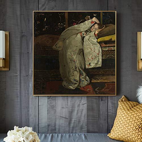 Frameloze olieverfschilderij Chica en un Kimono Blanc snijdt de artistieke expressie van George Hendrik Breitner en snijdt zo Cuadros para ladecoraciónde la S40x40cm