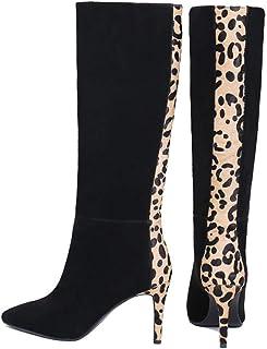 Dames luipaardlaarzen, martin laarzen dames, puntige stiletto hoge hakken damesschoenen, herfst/winter warme overlaarzen