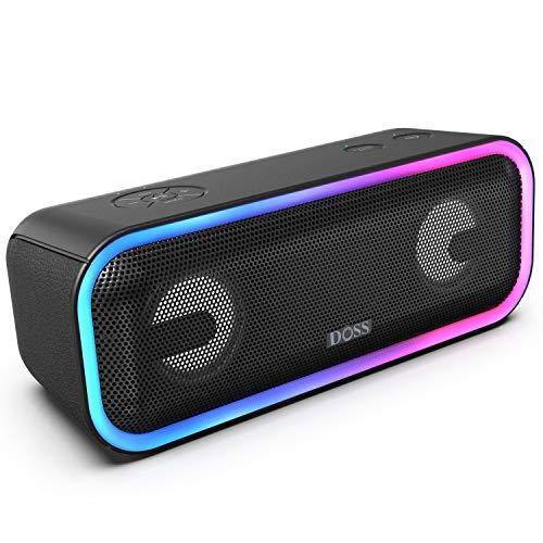 DOSS SoundBox Pro Plus Bluetooth-luidspreker, 24W-luidsprekerbox TWS-muziekdoos met lichteffecten, extra bas, draadloze stereo-koppeling, 15 uur batterijduur, TF-kaartsleuf, Zwart