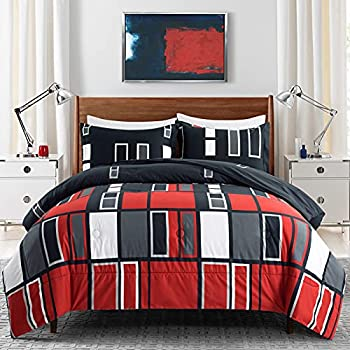 ARTALL Microfiber 3 Pieces Comforter Set Black Gray Red Plaid Pattern Lightweight Bedding Set Full/Queen Size with 2 Shams