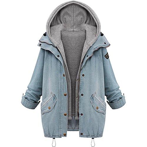 TWIFER Damen Warm Kragen Kapuzenjacke Denim Trenchcoat Parka Mantel übergröße (M, Blau)