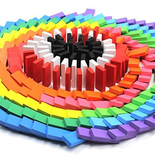 Dominó de madera de colores, 120 piezas de juguetes de bloques de construcción de juego de rompecabezas de educación infantil Regalos para niños