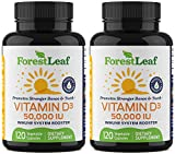 Vitamin D3 50,000 IU Weekly Supplement - 240 Vegetable Capsules - For Bones, Teeth, Immune System and Muscle Function - by ForestLeaf