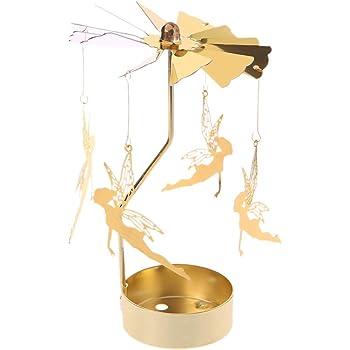 jackyee dor/é Chandelier Rotatif Classique Ange Un Tourniquet Rotatif carrousel Bougie Chauffe-Plat Porte lumi/ère Cadeau d/écoration de Mariage