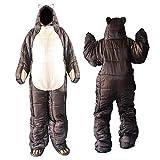 Janny-shop Saco de Dormir Portátil de Cuerpo Completo Saco de Dormir Marrón con Forma de Oso para Acampar en Clima Frío para Adultos
