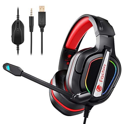 Fachixy Auriculares Gaming PS4 con Micrófono Flexible para PS5,Xbox One,PC,Switch,Laptop, Cascos Gaming RGB con Premium Stereo, Sonido Envolvente y Cancelación de Ruido con 3.5mm Jack (rojo)