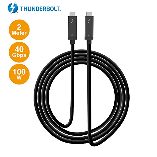 SIIG Thunderbolt 3 Certified, 40Gbps 2M Thunderbolt 3 Active Cable - 100W Charging/5A/20V - Daisy Chain up to 6 Devices - USB Type C with Thunderbolt Logo Compatible - 6.6 Ft