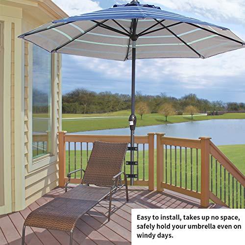Homydom Deck Umbrella Clamp Outdoor Universal Patio Umbrella/Torch Mount Holder Attaches to Railing Maximizing Patio Space, 3 Pack Black