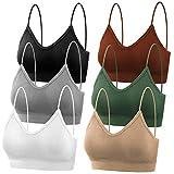 selizo Padded Bralettes for Women, 6 Pcs Sports Bras for Women Pack, V Neck Cami Bando Bra for Women Girls, M-L