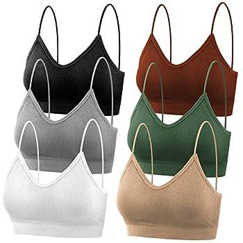 selizo Padded Bralettes for Women 6 Pcs Sports Bras for Women Pack V Neck Cami Bando Bra for Women Girls L-XL