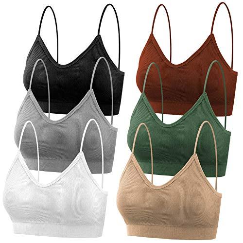 selizo Padded Bralettes for Women, 6 Pcs Sports Bras for Women Pack, V Neck Cami Bando Bra for Women Girls, S-M