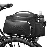 BLUETOP Bicycle Rear Seat Rack Trunk Bag Bike Cargo Bag Cycling Luggage Bag Shoulder Strap Bag Handbag Outdoor Travel Sports Bag| 3 Side Reflective Strip | Bottle Pocket | Strong Velcro Black