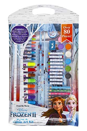 Disney Eiskönigin 2 Filzstifte Kinder, Anna und ELSA Malset Jungen und Madchen, 80 Stück Sticker Set und Wasserfarben Kinder, Buntstifte Schule Malkoffer, Kleine Geschenke für Kinder