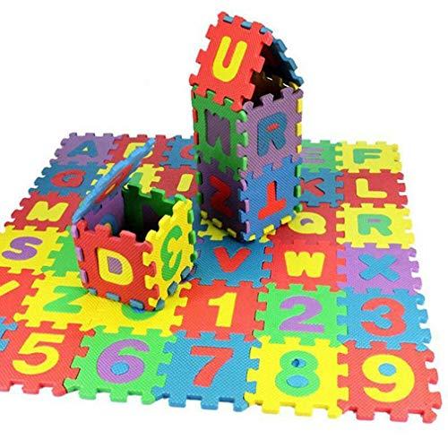 JIE Durable Suave Eva Espuma bebé niños Jugar Mat Alfabeto número Rompecabezas Juguete Regalo Colorido Ca.60 * 60mm