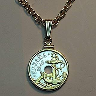 """Spanish """"Anchor & Ships wheel"""", Gorgeously 2-Toned (Uniquely Hand done) Gold on Silver coin Necklaces for women men girls girlfriend boys teen girls Pendants"""