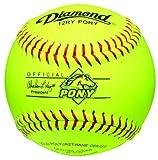Diamond 12-Inch Optic Leather Cover Pony League Softball, Dozen