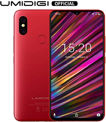 "Unlocked Smartphones, UMIDIGI F1 Dual SIM 4G Budget Phone, 6.3"" FHD+, 16MP+8MP Dual Camera, 128GB+4GB RAM, Android 9.0, 5150mAh Battery 18W Fast Charging"