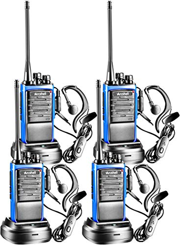 Arcshell Rechargeable Long Range Two-Way Radios with Earpiece 4 Pack UHF 400.025-469.975Mhz Walkie Talkies Li-ion Battery and Charger Included
