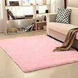 Jnszs Alfombra suave de piel sintética antideslizante para salón, dormitorio, hogar (color: rosa, tamaño: 80 cm x 120 cm)