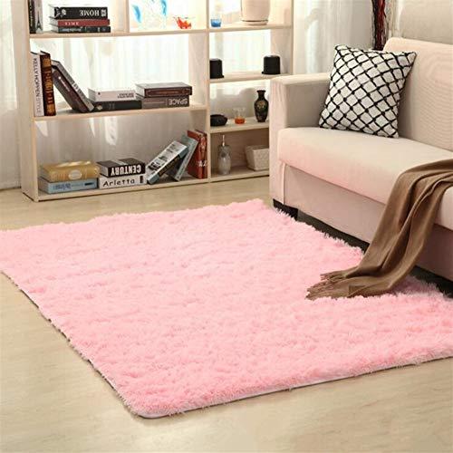 Jnszs Alfombra suave peluda de piel sintética Alfombra de suelo antideslizante para sala de estar, dormitorio o casa alfombra (color: rosa, tamaño: 50 cm x 80 cm)