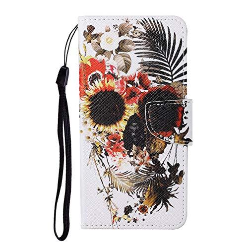 JZ Painted Design Wallet Funda For para Xiaomi Mi 10 5G / Mi 10 Pro 5G Flip Cover with [Stand][Wrist Strap] - Skull Flower