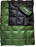 Down Camping Blanket - Warm Lightweight Puffy Packable Compact Water Resistant Ultralight Throw for Sleeping...