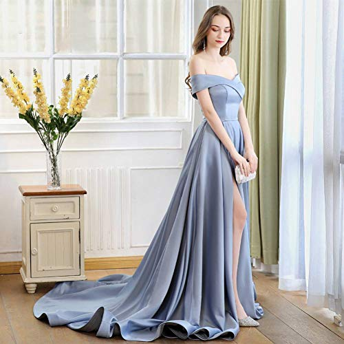 BINGQZ Cocktailkleider/Abiye Long Tail Kleid aus der Schulter Abendkleid Party Elegantes Abendkleid Prom Dresses High Slit