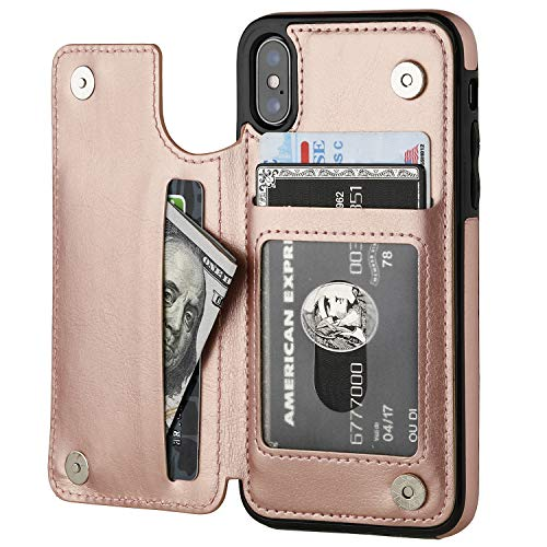 iPhone Xs iPhone X Wallet Case with Card Holder,OT ONETOP Premium PU Leather Kickstand Card Slots Case,Double Magnetic Clasp and Durable Shockproof Cover (iPhone X 5.8' Rose Gold)