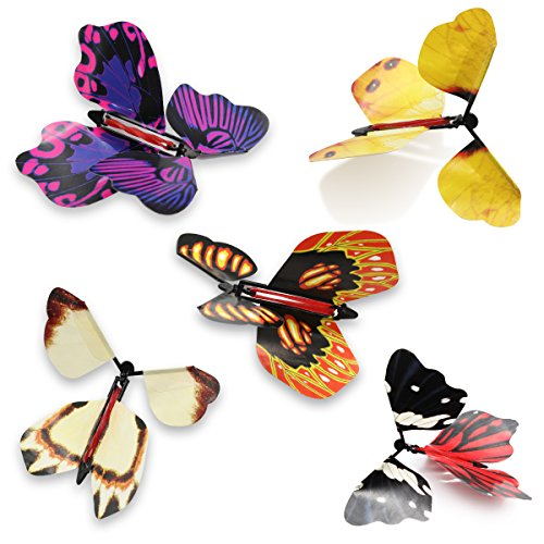 heytech Magic Wind Up Flying Great Surprise Gift Butterfly in The Book Rubber Band Powered Magic Fairy Flying ,Toy Great Surprise Gift for Classroom Christmas Stuffers Party Playing (5 Packs)