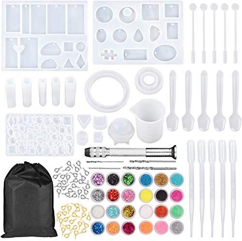 LURICO 159 moldes de silicona para resina epoxi, principiantes, juego de creación de joyas, pendientes, collar, kit con medidores y varillas