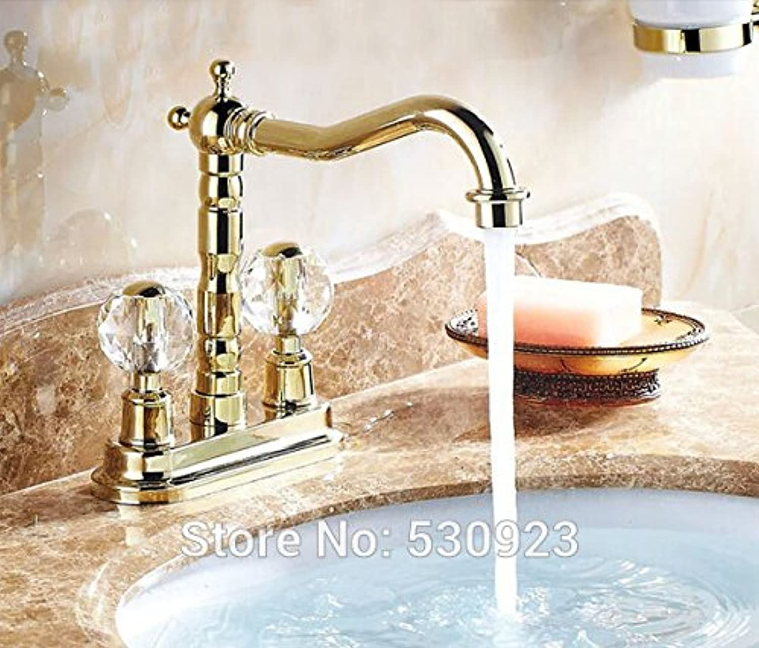 Maifeini Faucet, Faucet, Faucet, Wash Your Face, Wash Your Hands, The New Euro Style Of Luxury Bathroom Basin Series Mixer Click gold Finished Heat Sink Faucet Dual Crystal Handle Deck Mounted