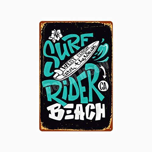 Jinlyp Beach Surf Retro Metal Cartel de Chapa Hawaii Party Art Painting Bar Club Decoración del hogar al Aire Libre Placa de Metal 20x30cm P