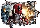 Deadpool Wall Crack V013 3D-Wandaufkleber, selbstklebend, 1000 mm breit x 600 mm tief (groß)