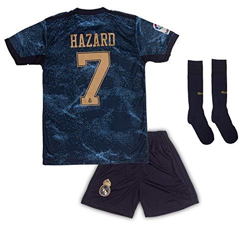 Real Madrid #7 Eden Hazard Trikot Set 2019-2020 Auswärts Kinder Fußball Trikot mit Shorts und Socken Kindergrößen