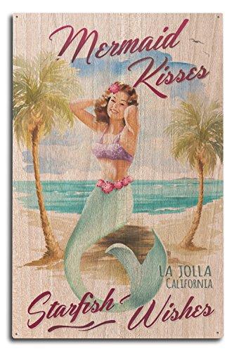 Lantern Press La Jolla, CA - Mermaid Kisses and Starfish Wishes - Watercolor (10x15 Wood Wall Sign, Wall Decor Ready to Hang)