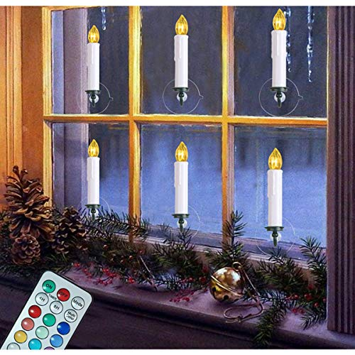 6PCS Window Candles Battery Operated Candles with Timer Remote 12 Colors LED Flameless Taper Candles for Holiday Christmas Window Flickering Lights Decorations