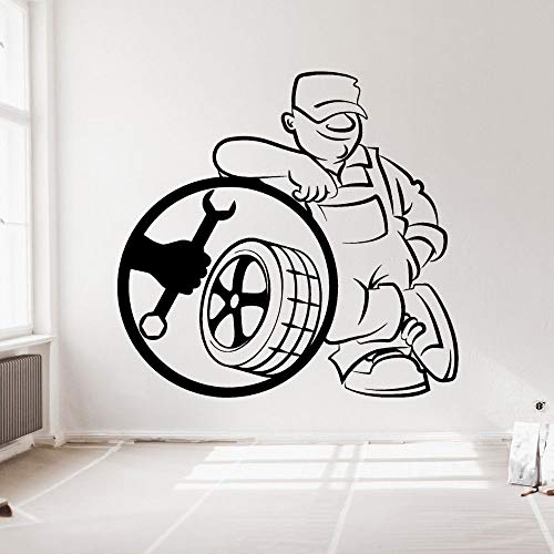 yaonuli Vinyl Reifen Reparatur Silhouette Aufkleber Wandtattoo Auto Auto Service Garage Dekoration 91x86cm