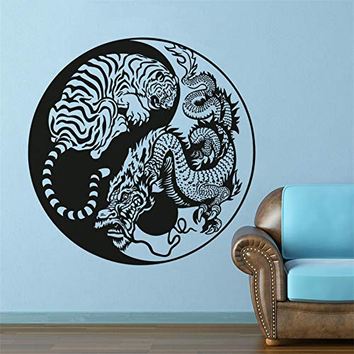 wopiaol Hidden Dragon Vinyl Muurtattoo Krukender Tijger Afneembare Muursticker Azië Mythology Style Muursticker Yin Yang muurkunst 80x80cm