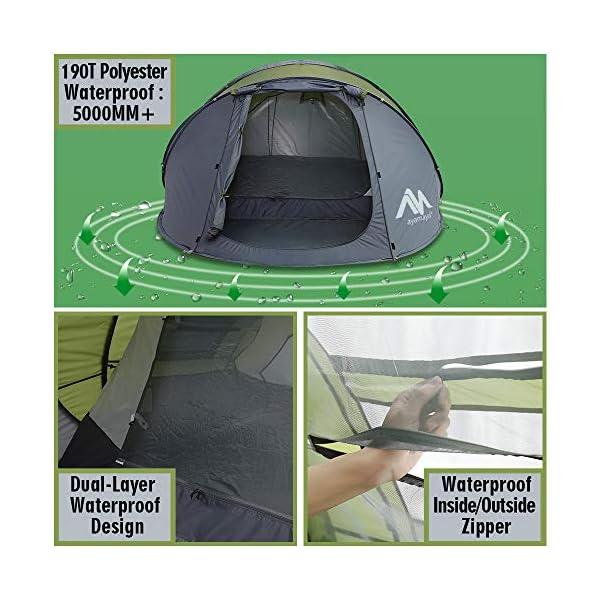 Tienda de campaña para 4 – 6 Personas/Hombre, para Acampar instantáneamente [5 Ventanas] Impermeable de Doble Capa para… 1